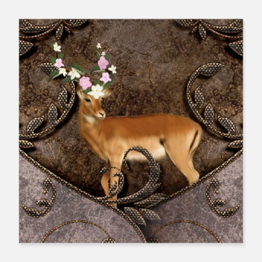 Animal Wondeful antelope with flowers - Poster 16x16