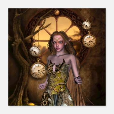 Clock Awesome steampunk fairy with clocks and gears - Poster 16x16