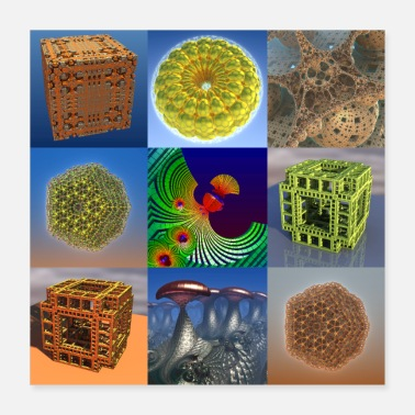 3d 9 Fractal Collage of 3D Computer Art - Poster 16x16