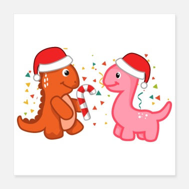 Candy Christmas Dinos Party Candy Cane - Gift - Poster 16x16