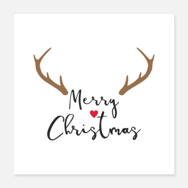 Merry Christmas Red Nose Reindeer Antler Deco - Poster 16x16