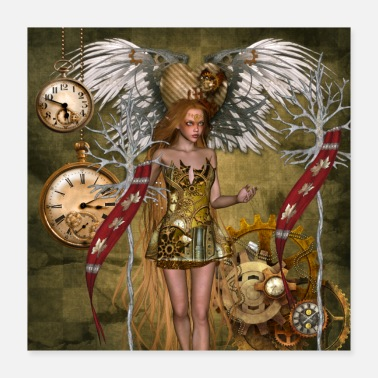 Clock Wonderful steampunk fairy with clocks and gears - Poster 16x16