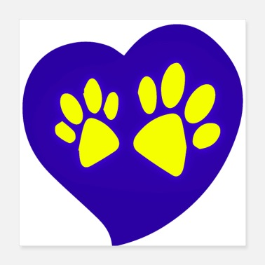 Leopard Heart Paw Icon lila - Poster 16x16