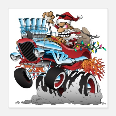 Toy Hot Rod Santa Christmas Cartoon - Poster 16x16