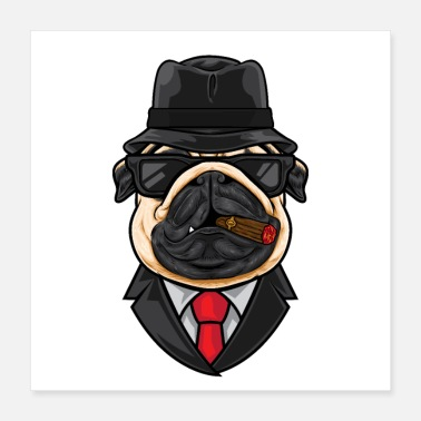 Pickup Line Pug Head Cartoon Mafia - Poster 16x16