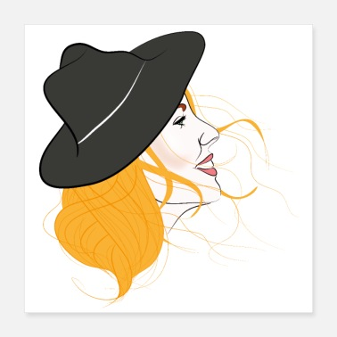 Weather Lady woman with hat - Poster 16x16