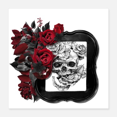 Ancient Blood red roses frame a ancient skull - Poster 16x16