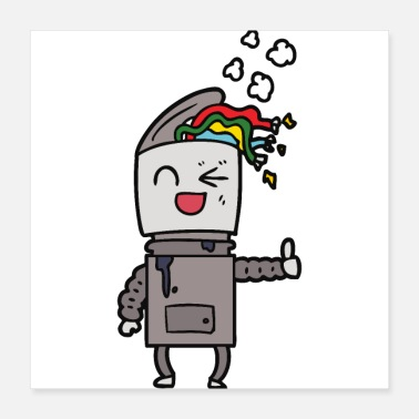 Thumb Up Thumbs Up Rainbow Robot - Poster