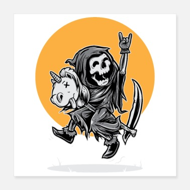 Toy Grim Reaper Happy Riding Unicorn Toy - Poster 16x16