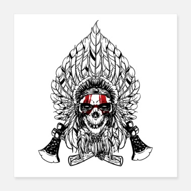 Axe Indian Native Skull with two axes - Poster