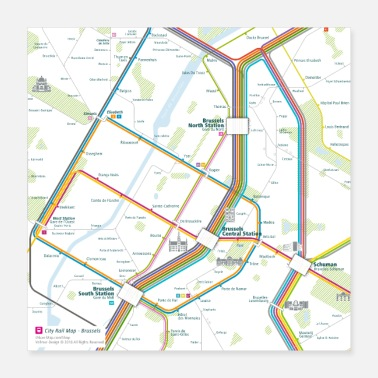 Map Brussels Map Square - Poster 16x16
