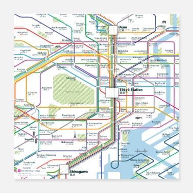 City Tokyo Map Square - Poster
