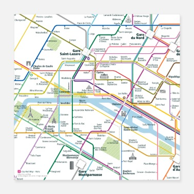 Map Paris Map Square - Poster 16x16