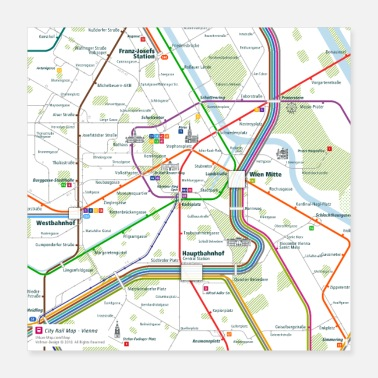 Map Vienna Map Square - Poster 16x16