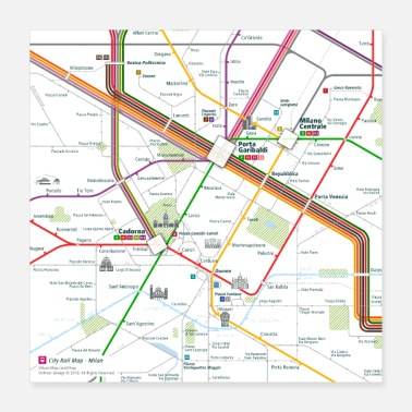Map Milan Map Square - Poster 16x16