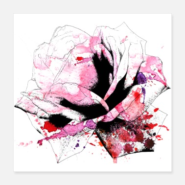 Bloom watercolor rose poster - Poster 16x16