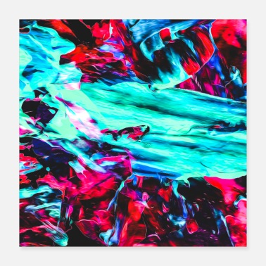 Neon Abstract Paint Mix 20 - Poster 16x16