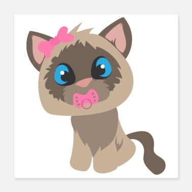 New Baby Baby Cat Cute with pacifier - gift idea - Poster 16x16