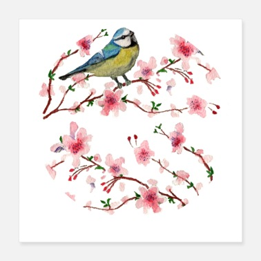 Cherry Tree Bird on Cherry Blossom - Poster 16x16