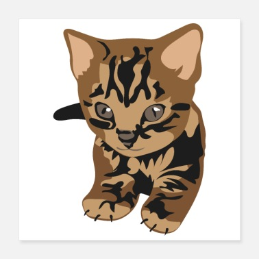 Tiny Bengal Kitty Cat Cute Little Tiger Gift Idea - Poster 16x16