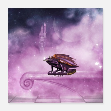 Violet Awesome dragon in violet colors - Poster 16x16
