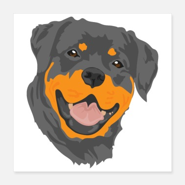 Favorite Grandpa Favorite Dog Rottweiler Portrait Happy - Gift Idea - Poster 16x16