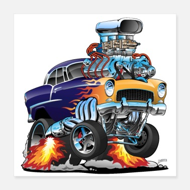 Old Classic Fifties Hot Rod Muscle Car Cartoon - Poster