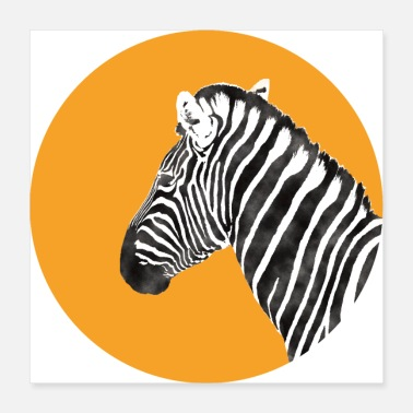 Africa Zebra Art Watercolor T-Shirt - Poster 16x16