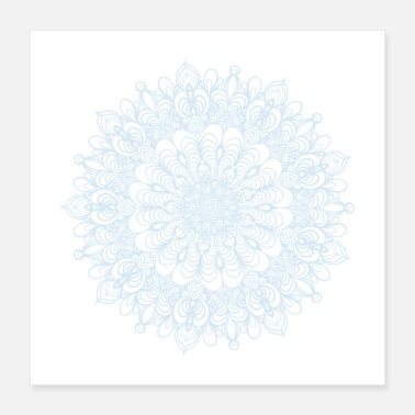 Religious Mandala Drawing Circle Spiral Flowers Line Art - Poster 16x16