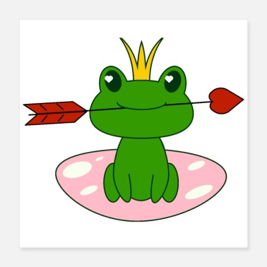 Frog Frog with heart, Valentine s day, love, for girls - Poster 16x16