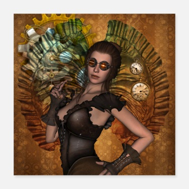 Gear Awesome steampunk women with clocks and gears - Poster 16x16