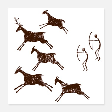 Caveman Ancient Cave Painting - Poster 16x16