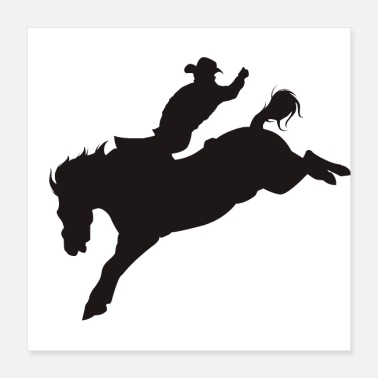 Western Riding Cowboy on Bucking Bronco - Poster 16x16