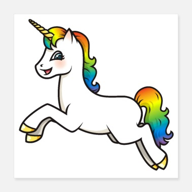 Magic Magical Kawaii Rainbow Unicorn - Poster 16x16