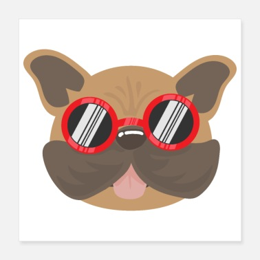 Favorite Grandpa Favorite Dogs Cute French Bulldog with Sunglasses - Poster 16x16