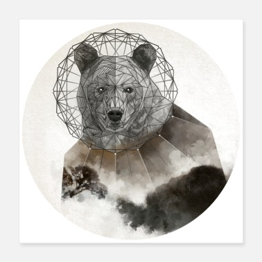Illustration Bear Watercolor Polygon Illustration - Poster 16x16