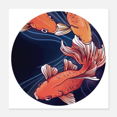 Tradition Japanese Carp Design - Poster 16x16