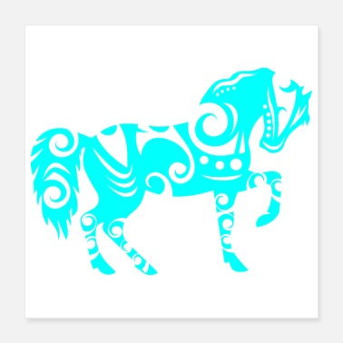 Horse Fan Maori Horse Turquoise - Gift Idea - Poster 16x16