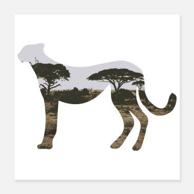 Cheetah Images Double Exposure Animals Cheetah - Gift Idea - Poster 16x16