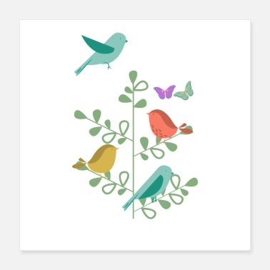 Spring design with birds and butterflies - Poster 16x16