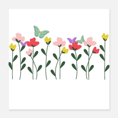 Nature Design with flowers and butterflies - Poster 16x16