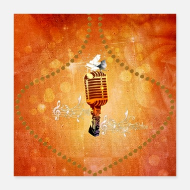 Piano Music, microphone with piano and bird - Poster 16x16