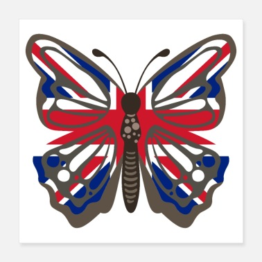 Uk Butterfly United Kingdom UK Flag - Gift Idea - Poster 16x16