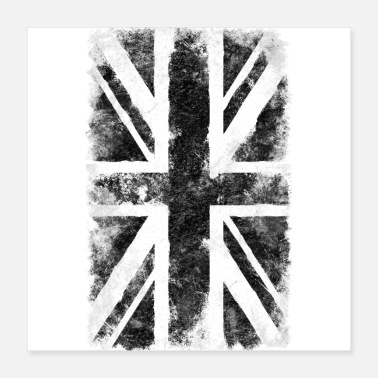 British-flag Black UK flag - Poster 16x16