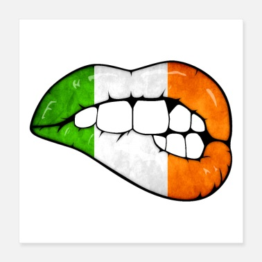 Patriotic Shamrock Flag Irish lips - Poster 16x16