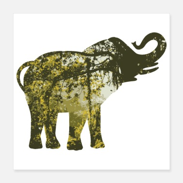 Asian Double Exposure Animals Asian Elephant - Gift Idea - Poster 16x16