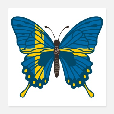 Sweden Butterfly Sweden Flag of Sweden - Gift Idea - Poster 16x16