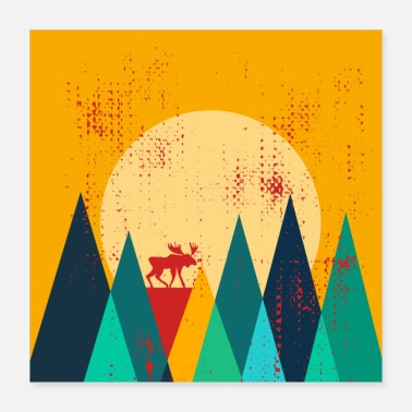 Norway Moose in the mountains Norway Retro Design - Poster
