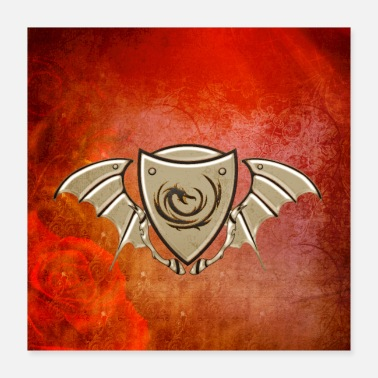 Wing Wonderful dragon on a shield with wings - Poster 16x16