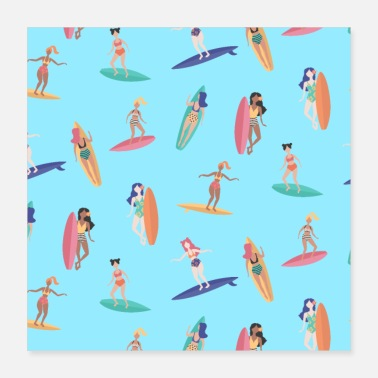 Athletes Surfer water sports athlete surfboard pattern - Poster 16x16